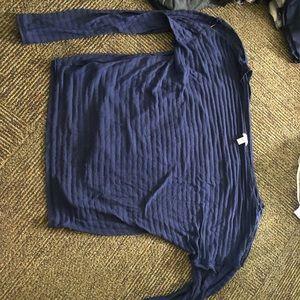 ABlue see thru strip shirt